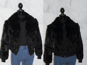 Rabbit Fur Black Fur Motorcyle Bomber Jacket (L)