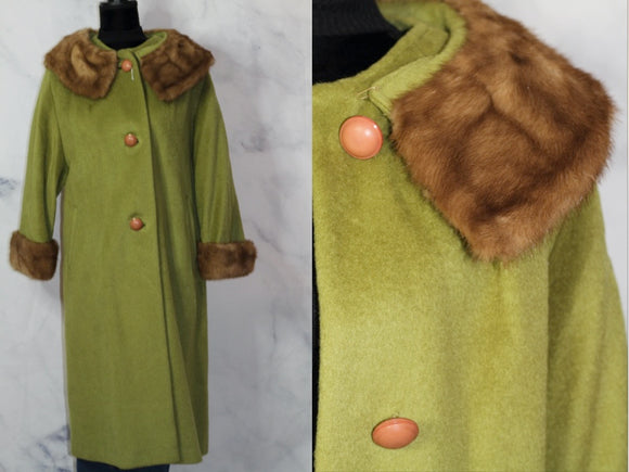 Green Fur Wool Trench Coat Silk Lining