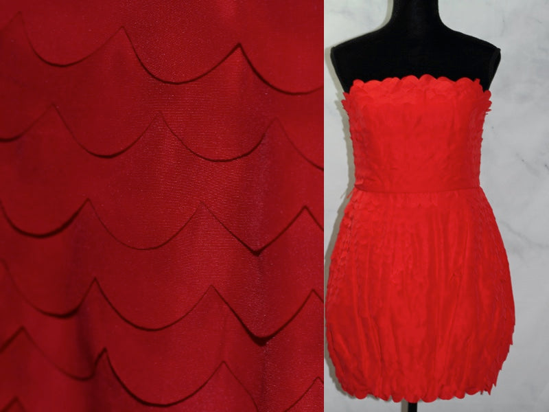 Ark & CO Red Ruffle Strapless Pouf Dress (L)