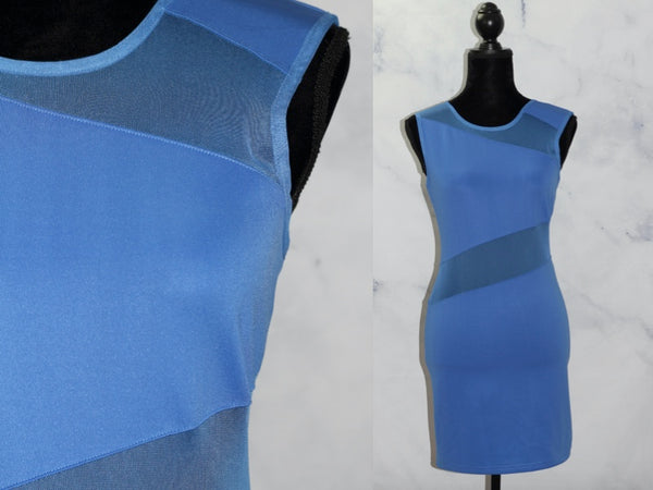 Blue Mesh Stretch Cocktail Dress (S)
