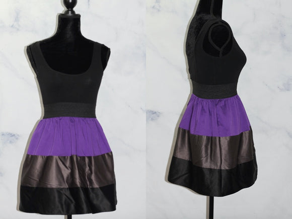 Twenty One Black & Purple Mini Dress (S)