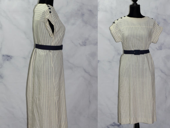 Jones of Dallas Blue & Tan Stripe Sheath Dress (6)