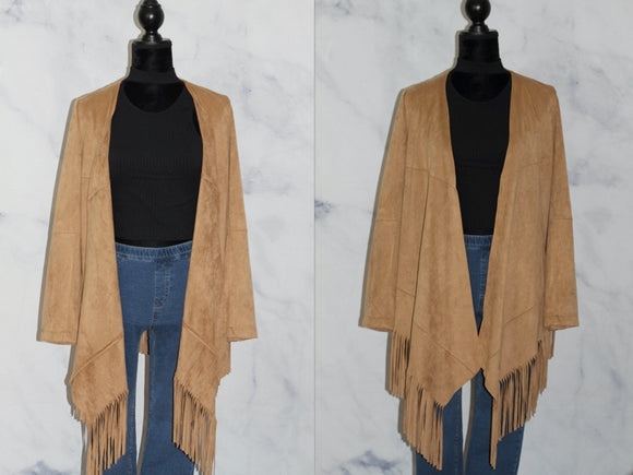 Adore Camel Frings Cardigan (s)