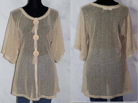 Pretty Angel Tan Net Top with Wooden Buttons (S-M)