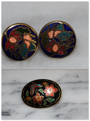 Oval Multi Color Oval Brooch & Earrings Set