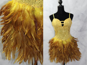 Be Wicked Sequin Feather Yellow & Gold Dress (S-M)