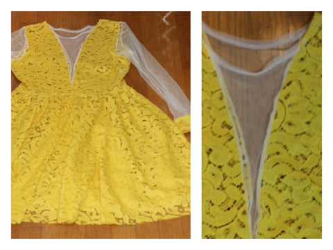 Stunning 90's Yellow & White Lace See Thru Flare Dress (S)
