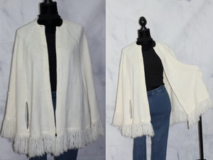 St. Bridges Snow White Shawl with Fringes (One Size)