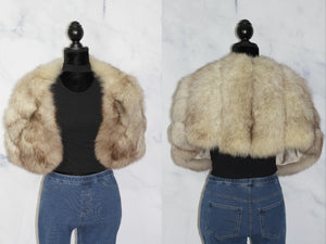 Blue Fox Mink Caplet Stole Wrap  Shawl