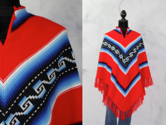 Red Tribal Asymmetric Cotton Shawl with Fringe (One Size) *New