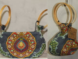 Handmade Floral Multi Wear Handbag with Wooden Handles *New with Tags