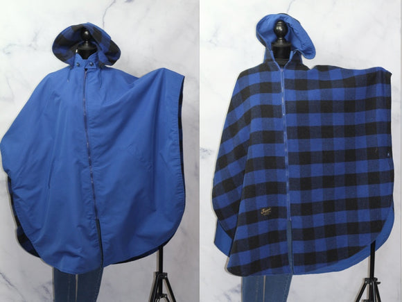 Jaguar Fashions Reversible Plaid & Solid Blue Cape Shawl Poncho Hoodie  (One Size)