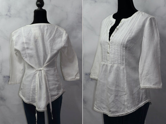Jones New York Sport White Linen Blouse (S)