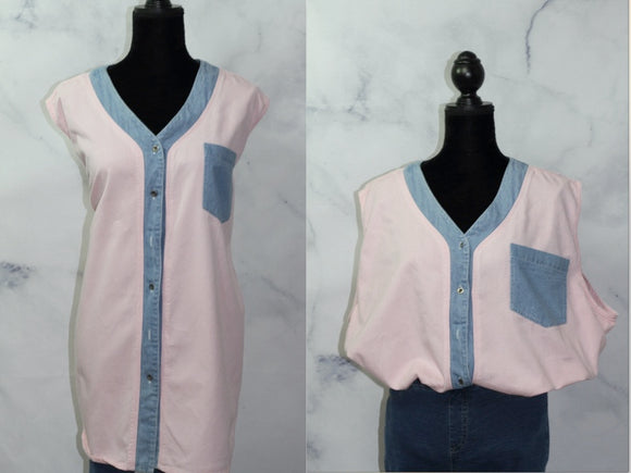 Fitting Image Pastel Multi Color Blouse Top (22-24)