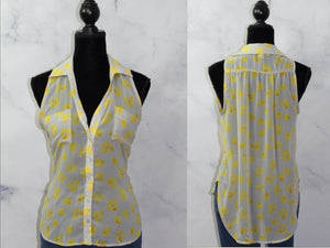 Lush Nordstrom Yellow  Grey  Floral Top  (L)