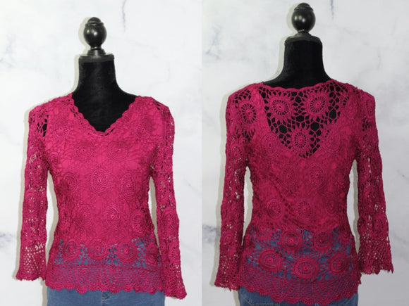 Handmade Crochet Burgundy Top (S)