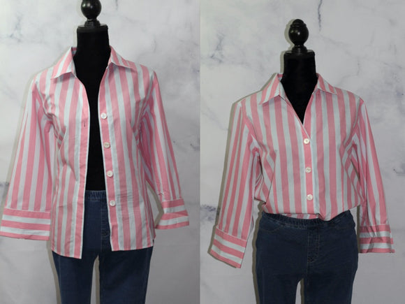 Talbot Pink & White Striped Long Sleeve Shirt (L)