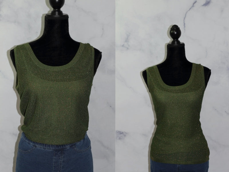 Lafayette 148 New York Army Green Sleevless Top (S)