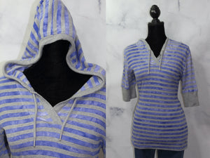 Calvin Klein Blue & Grey Strip Cotton Hoodie Top (S)