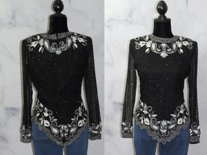 Drapers & Damon's Sequin Beaded Silk Top (S)
