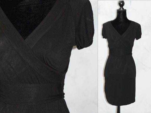 BCBG Black V-Neck A-Line Dress (s)