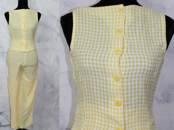 Yellow Two Piece Cotton Top & Pants Suit