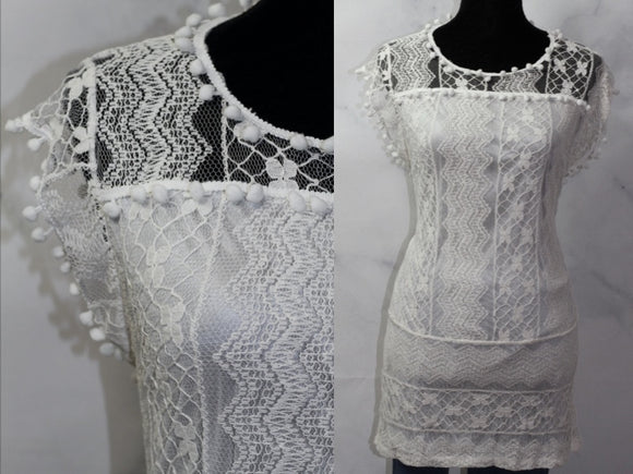 Lace Top with Fringe Shoulders (M)