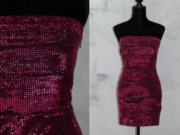 WOW Couture Pink Metallic Dress (M)