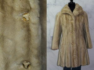 Tissavel Imported From France Country Pacer Cream Vegan Fur Coat (S)