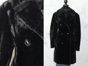 Mid Length Trench  Black Vegan Fur  (1X)