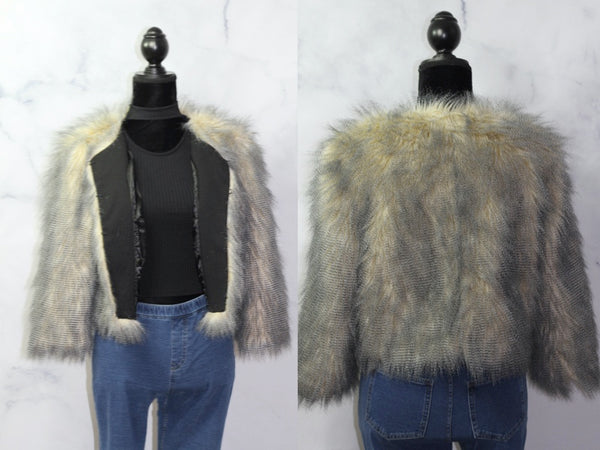 Walter Baker Black & Grey Faux Fur Jacket (M)