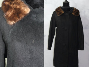 Black Wool Coat with Mink Collar Trimming