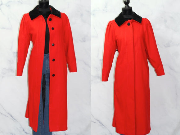 Charles Klein Red Wool Long Trench Coat (XL)