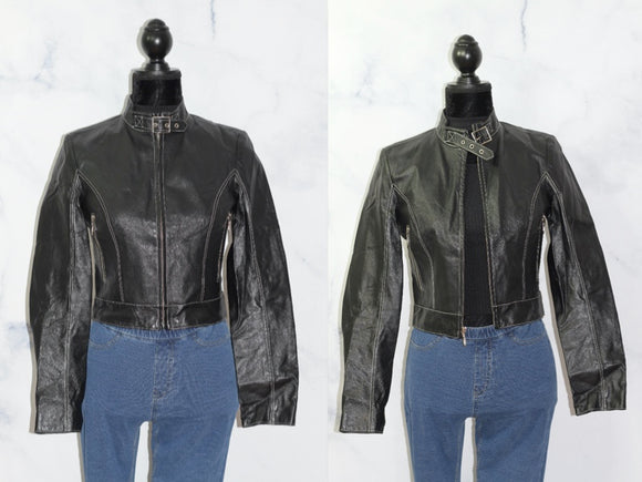 Wilson's Leather Black Motorcycle Jacket (S)