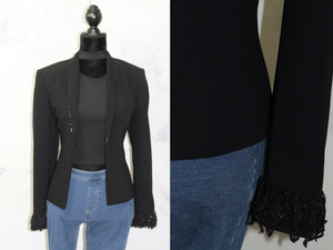 Albert Nipon Black Blazer - Beaded Collar Trim & Cuff (8)