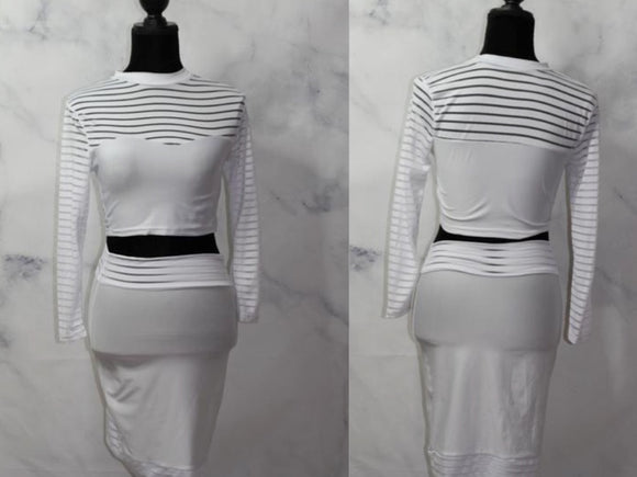 Winter White 2 Piece Pencil Skirt - Crop Top (S-M)