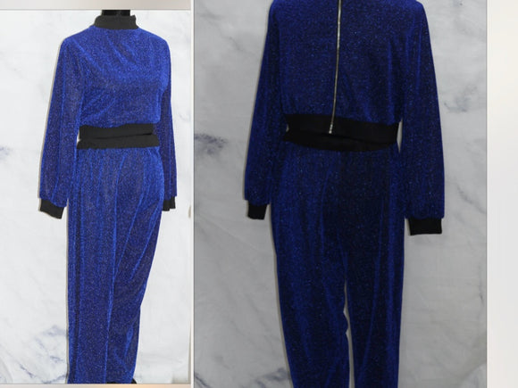 Blue & Black Sequin (2pc) Pants Set (2xl)