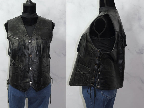 Italian Stone Fringe Leather Vest (L)