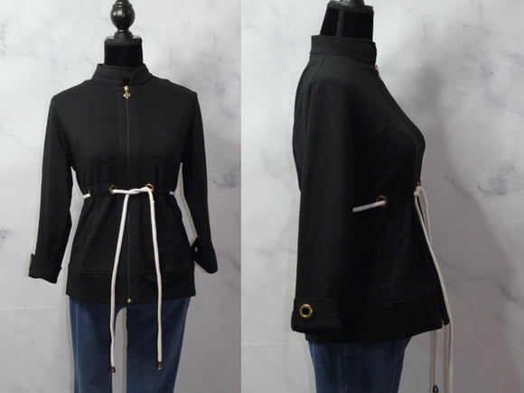 Black Jacket with White Draw String Gold Accent (PS)