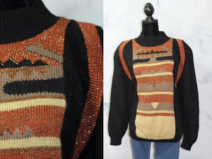 Silverleaf  Gold Metallic  Black & Brown Decorative Sweater w/ Shoulder Pads  (S-M)