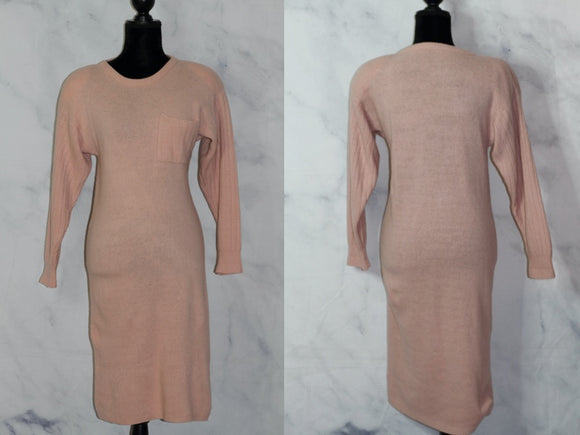Handmade  Pastel Pink Wool A-Line Dress Dress (S)