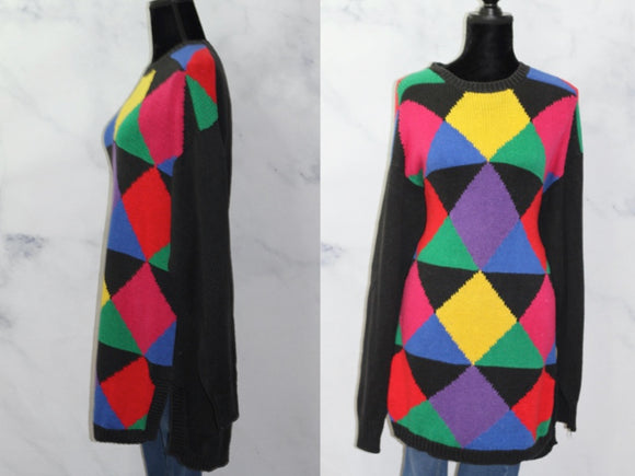 B.E Multi Color Triangle  Sweater (L)