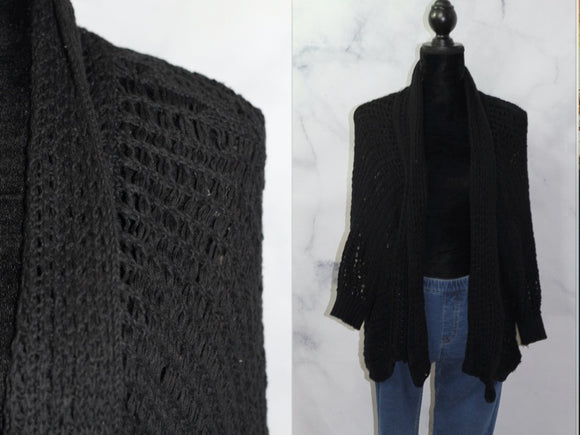 Handmade Black Knit Cape (L)
