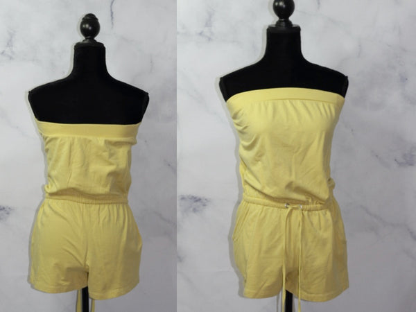 Yellow Cotton  Romper Cotton (S)