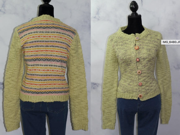 Handmade Multi Color Stripe Wool Sweater (M)