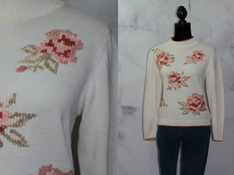 Alfred Dunner Pink & White Rose Sweater (PL)