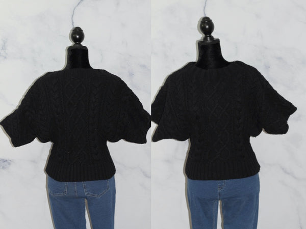 Express Wool Cotton Bland Stretched Neck Black Sweater (XS)