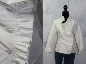 Calvin Klein Ivory Blouse with Ruffle Cuffs (M)
