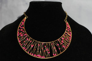 Pink & Gold Wire Necklace *New  with tags