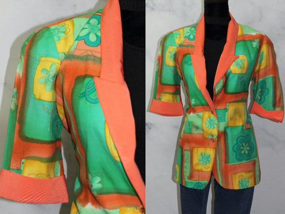 City Girl by Nancy Bolden Multi Colour Print Blazer (XS)